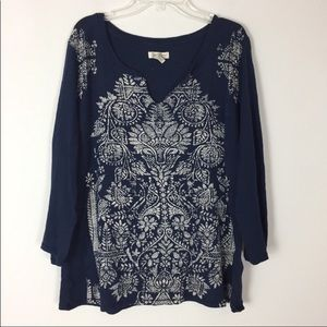 Lucky Brand • Navy Top With Beige Brocade Design